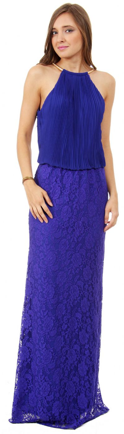 Halter Neck Pleated Blouson Top Long Bridesmaid Dress