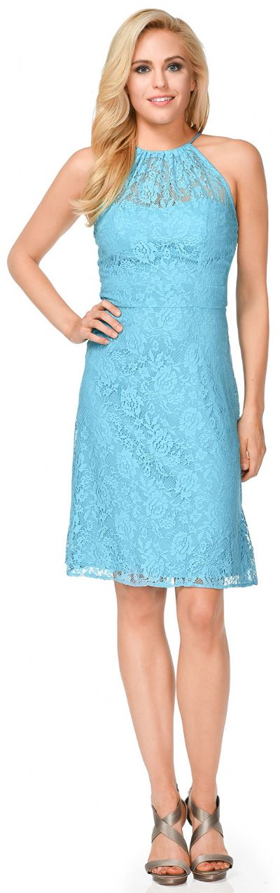 Halter Neck Floral Lace Short Bridesmaid Party Dress