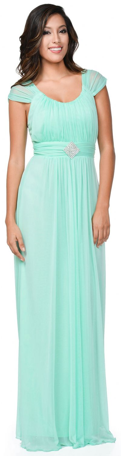 Scoop Neck Broad Straps Shirred Long Formal Bridesmaid Dress