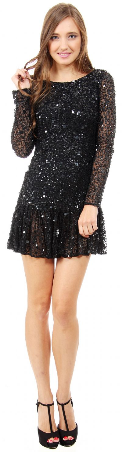Full Sleeves Flared Skirt Sequined Mini Party Dress
