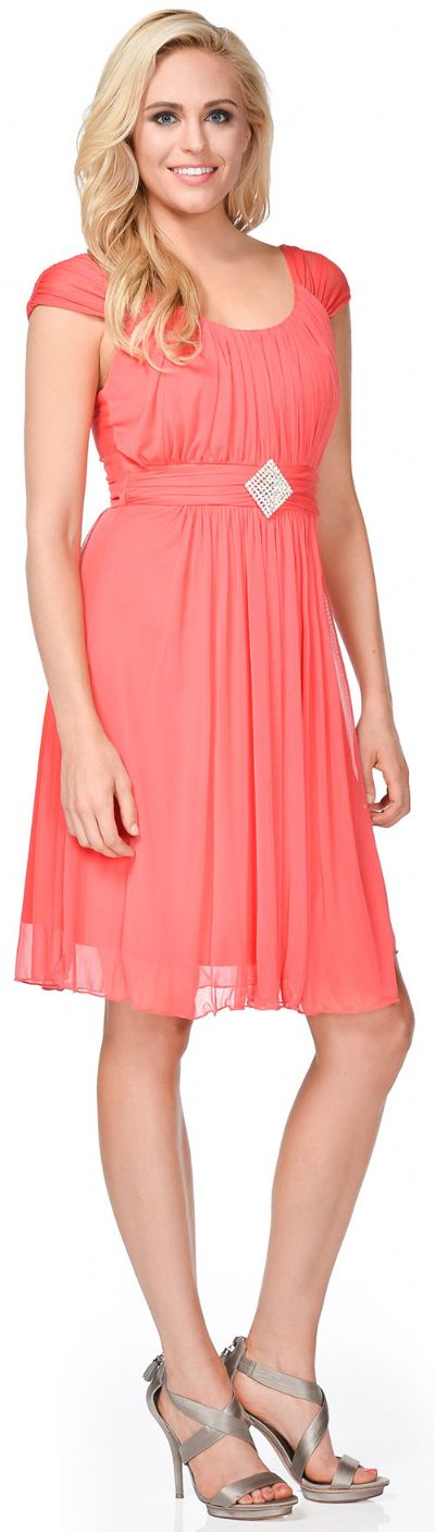 Scoop Neck Broad Shirred Short Bridesmaid Party Dress