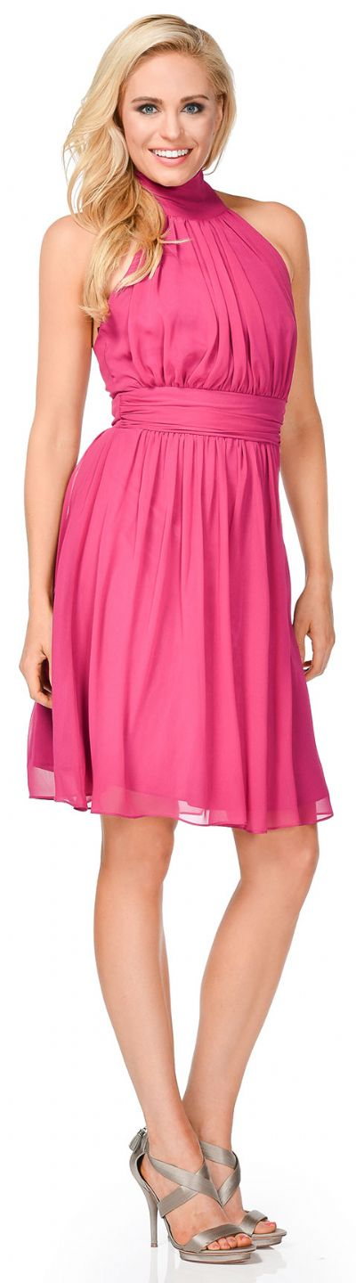 Halter Neck Short Party Dress with Neck Tie Closure