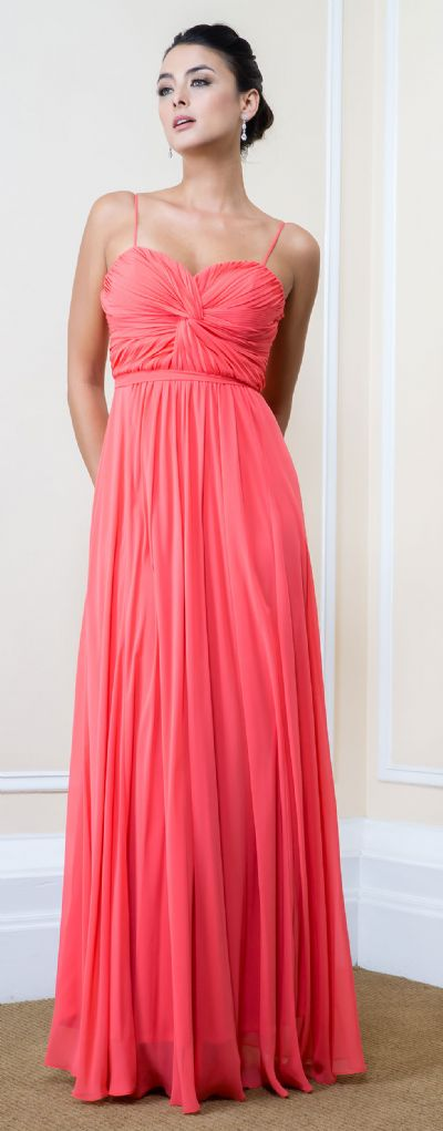 Pleated Bust Spaghetti Straps Long Formal Bridesmaid Dress