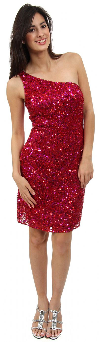 Hand Beaded and Sequined One Shoulder Short Dress
