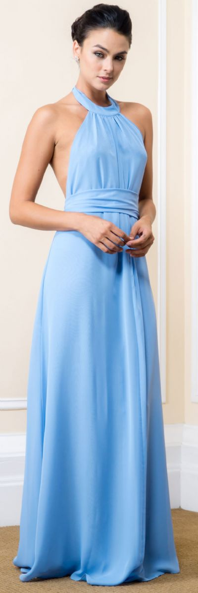 Halter Neck Long Formal Maxi Dress with Waist & Neck Tie