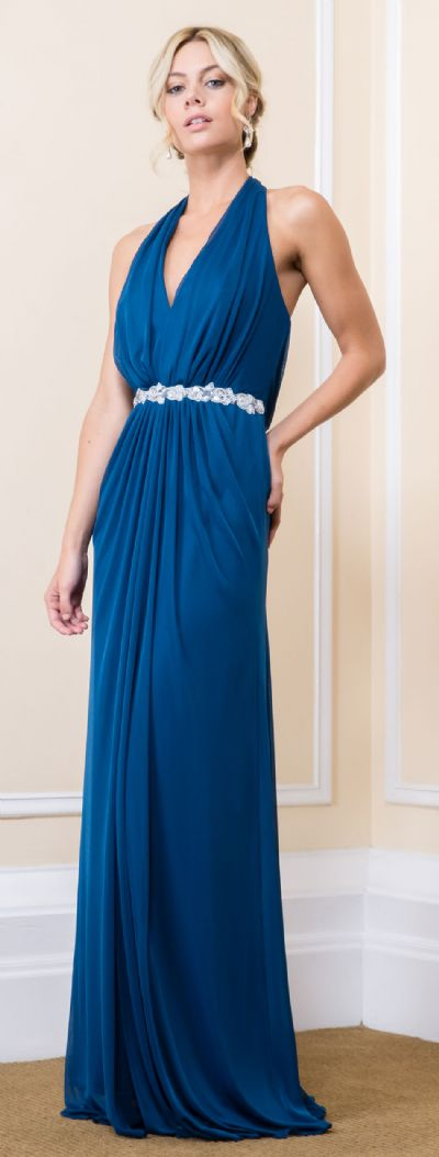 Halter Neck Floral Waist Long Bridesmaid Maxi Dress