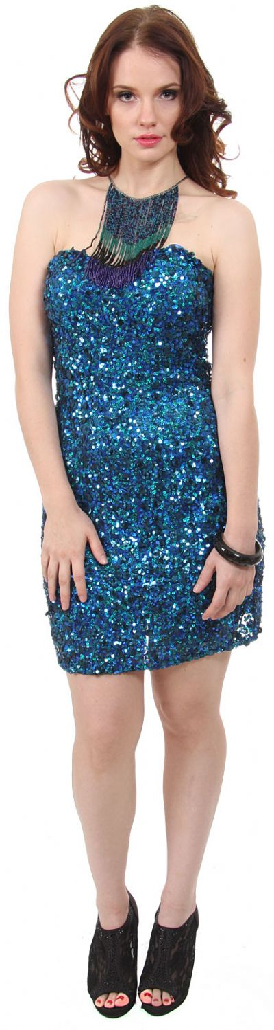 Strapless Sweetheart Neck Sequined Party Prom Dress