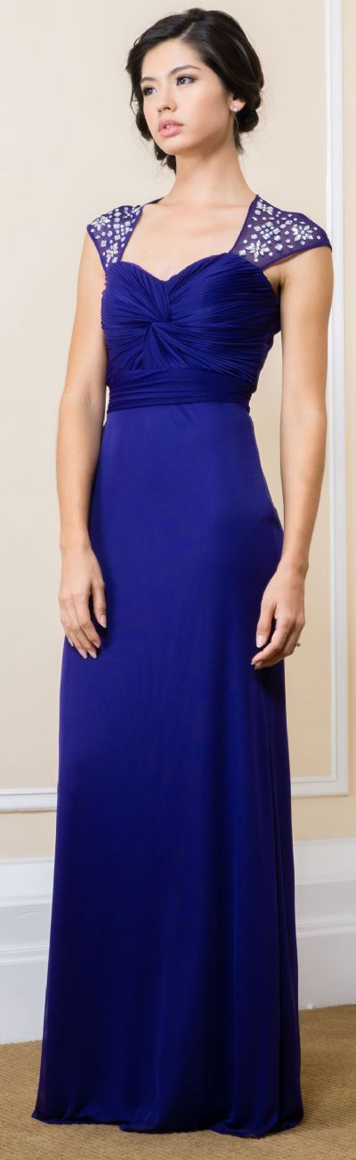 Bejeweled Empire Cut Long Formal Evening Bridesmaid Dress