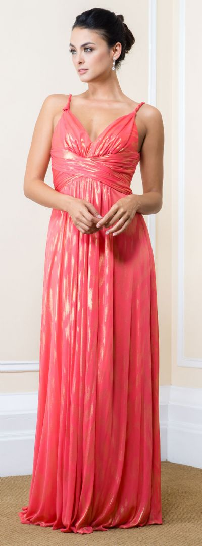Metallic Print Long Formal Maxi Dress with Twisted Straps