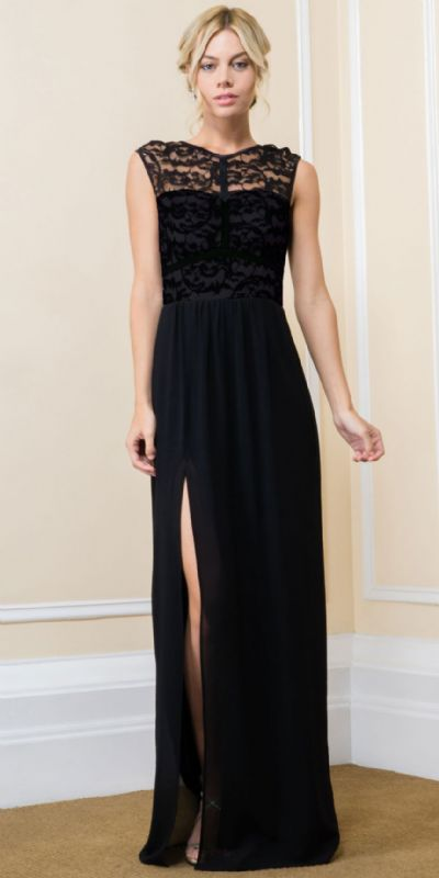 Lace Top Boat Neck Long Evening Gown with Front Slit