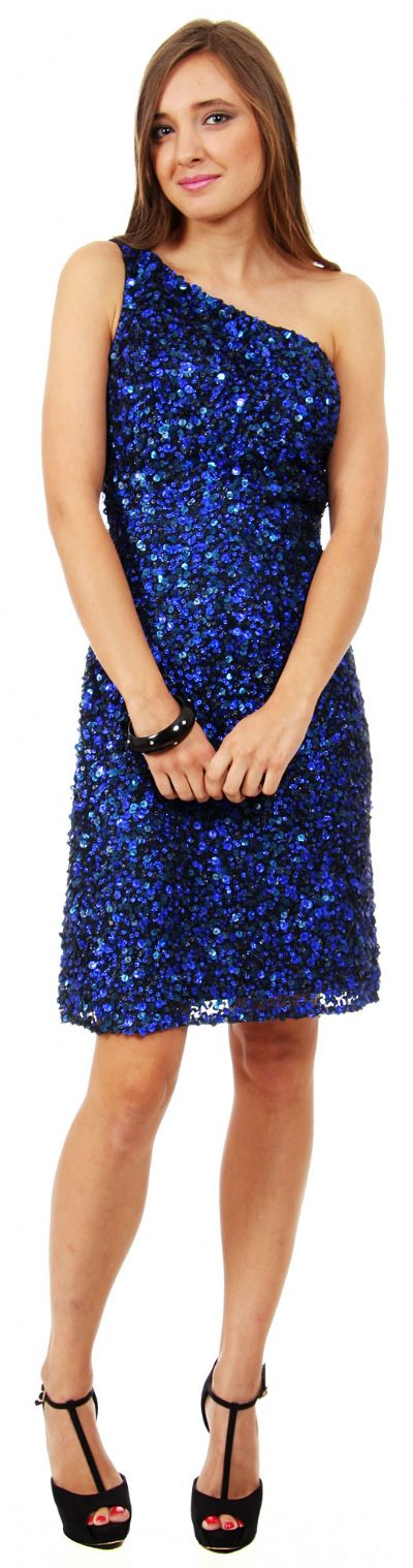 One Shoulder Short Party Dress with Textured Sequins
