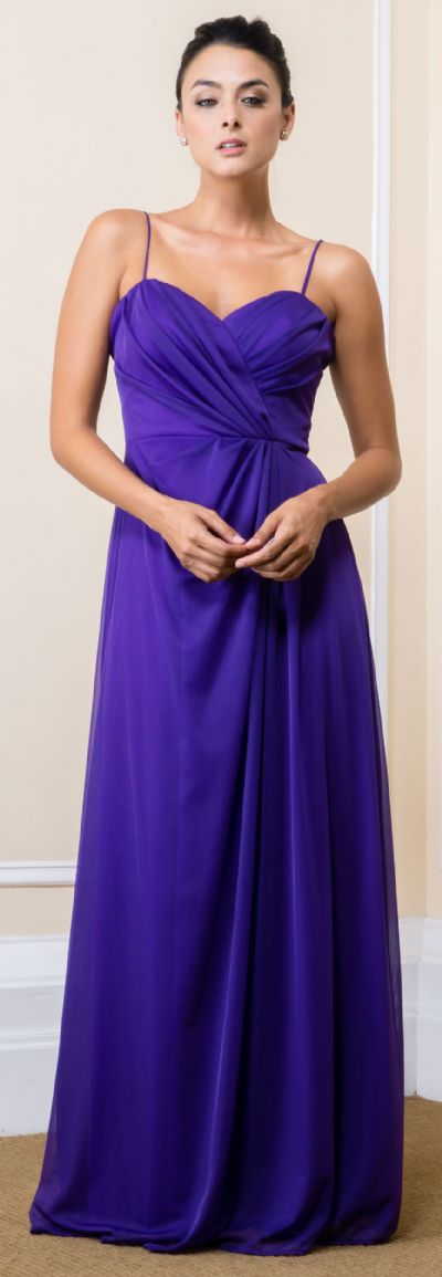 Wrap Style Ruched Long Formal Evening Bridesmaid Dress
