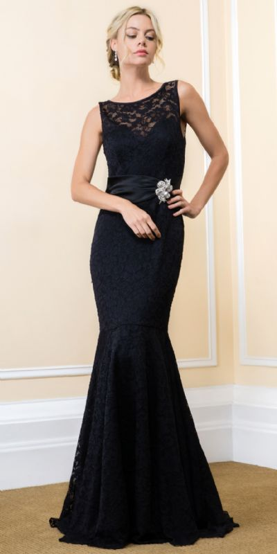 Boat Neck Mermaid Skirt Lace Long Prom Evening Gown
