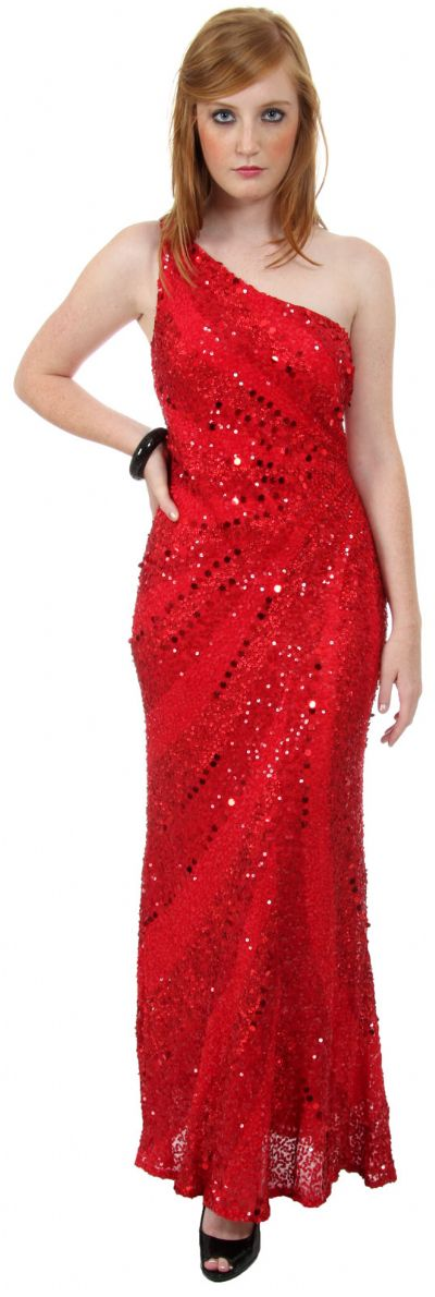 Single Shoulder Stripe Sequined Formal Evening Dress