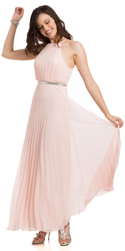Sleeveless Bejeweled Waist Pleated Formal Evening Dress