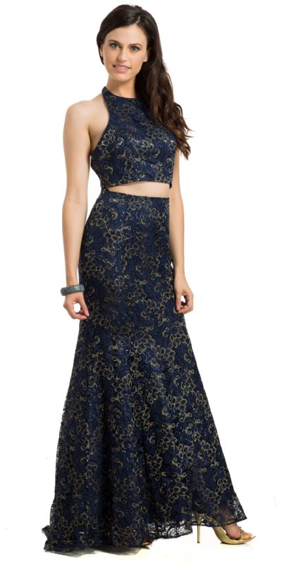Lace Halterneck Mermaid Evening Gown