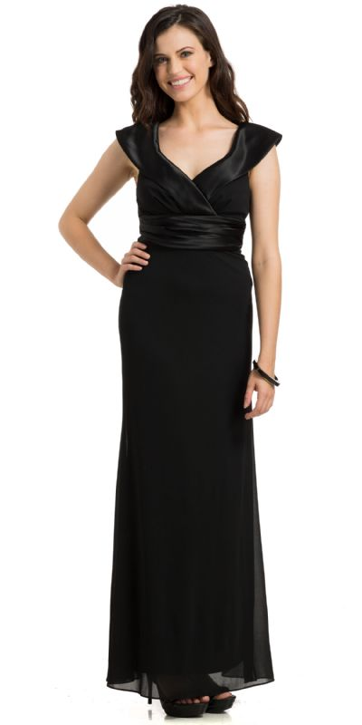Sabrina Neck Pleated Evening Prom Gown