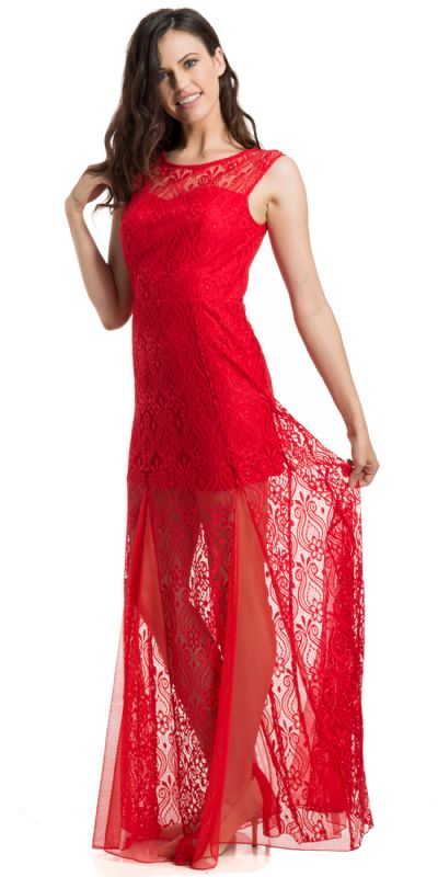 Short Sleeve A-Line Lace Formal Evening Gown