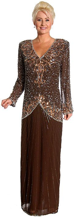 V-Neck Handbeaded Long Formal Gown with Full Sleeves