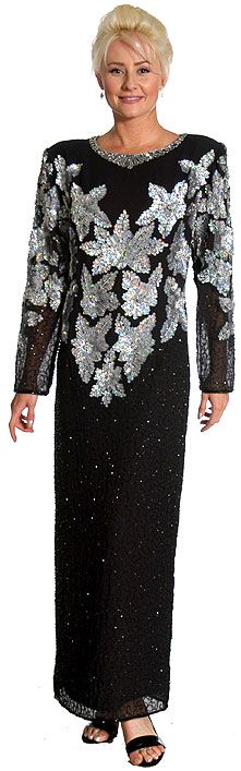 Multi Floral Handbeaded Formal Evening Dress