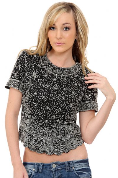 Short Sleeved Net Top with Silver Petal Sequins