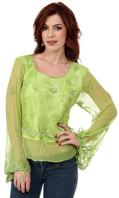 Full Sleeves Sheer Top with Silver Petal Sequins