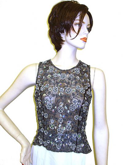 Sleeveless Net Top with Silver Petal Sequins