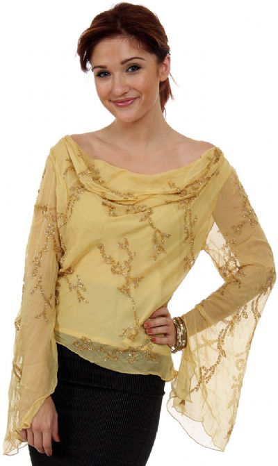 Loose Fitting Formal Beaded Blouse
