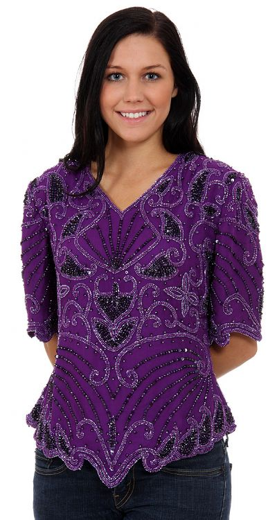 Rain and Flares Hand Beaded/Sequined Blouse