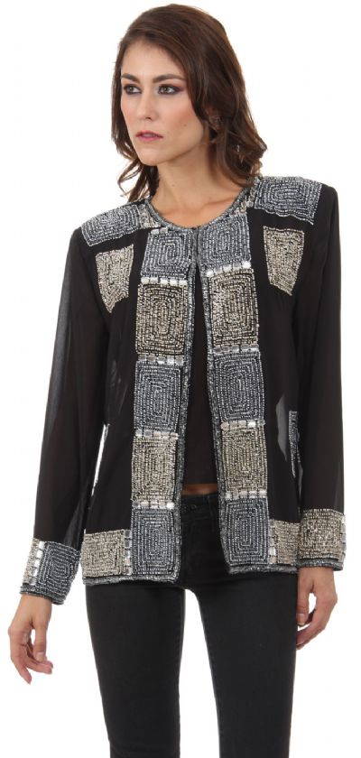 Boxy Beading Full Sleeves Short Sheer Jacket