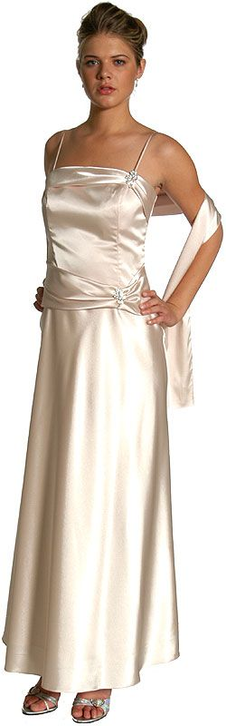 Full Length Satin Brooch Formal Dress