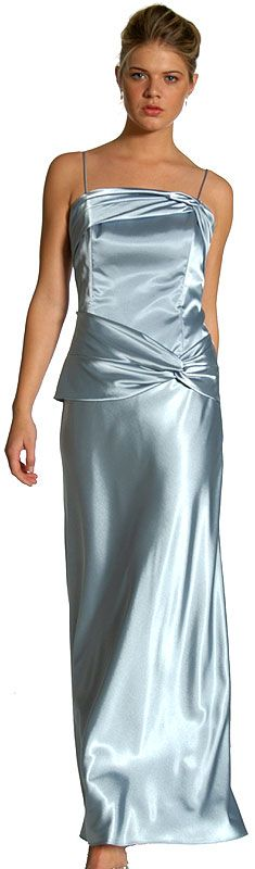 Full Length Spaghetti Strap Satin Evening Dress