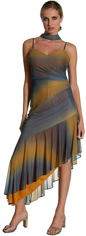 Two Tone Asymmetric Formal Dress