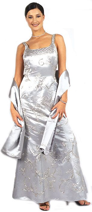 Beaded Formal Silver Prom Dress with Floral Accent