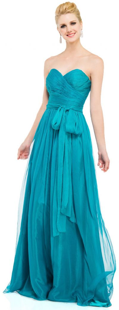 Strapless Sweetheart Neck Chiffon Long Formal Prom Dress