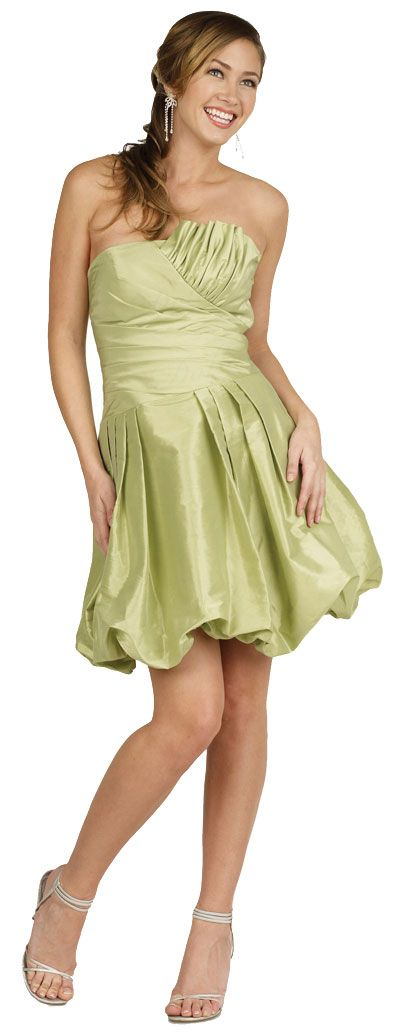 Strapless Pleated Bubble Short Party Dress