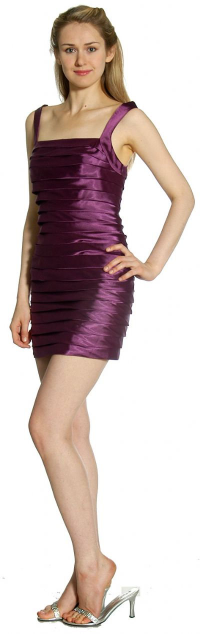 Horizontal Pleat Tiered Short Party Dress