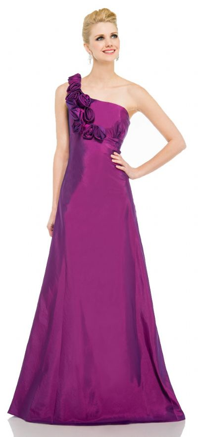 Single Shoulder Taffeta Full Length Formal Evening Gown