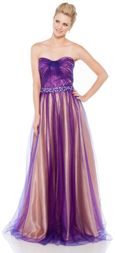 Strapless Long Prom Dress in Mesh with Jewels