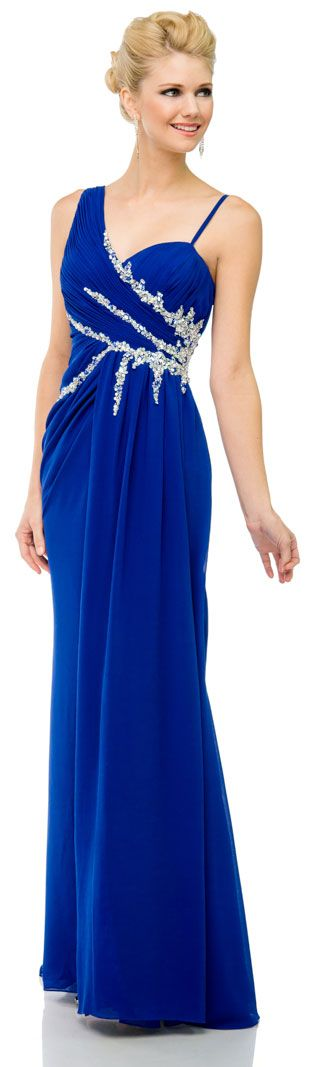 Pleated Long Prom Dress with Jewels & Matching Bolero Jacket