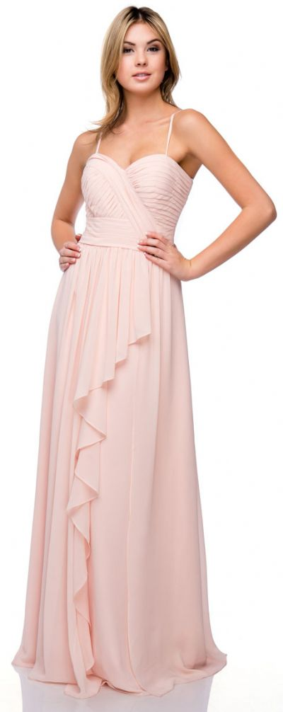 Pleated Bust Wrap Skirt Long Bridesmaid Dress