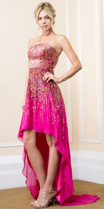 Strapless Sequined High-Low Prom Dress with Train