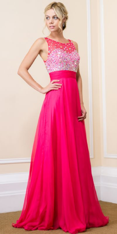 Jeweled Mesh Top Floor Length Formal Prom Dress