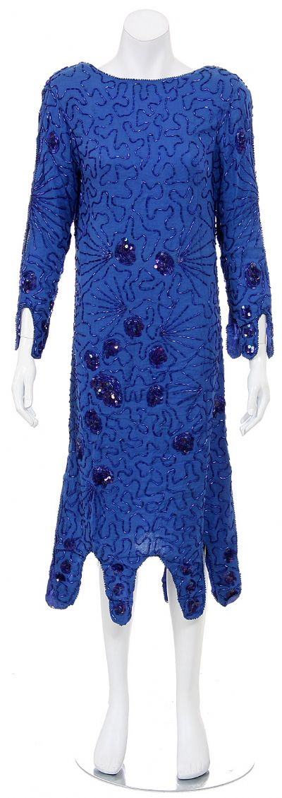 Medium Length Cowl Neck Back Hand Beaded Dress