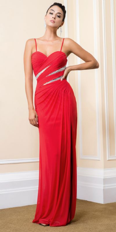 Sweetheart Pleated Formal Evening Gown with High Slit