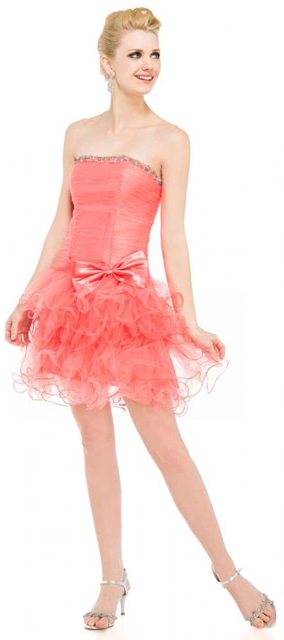 Strapless Mesh Short Prom Party Dress with Ruffled Skirt