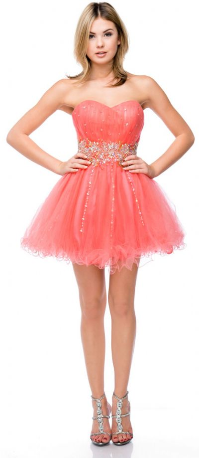 Strapless Beaded Waist Short Tulle Party Prom Dress