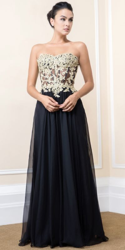 Strapless Floral Accent Bodice Long Formal Prom Dress