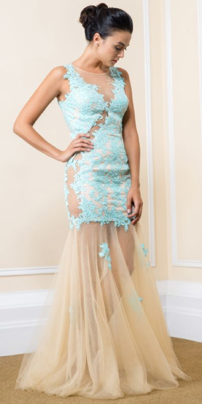 Exquisite Floral Lace Tulle Skirt Long Prom Pageant Dress