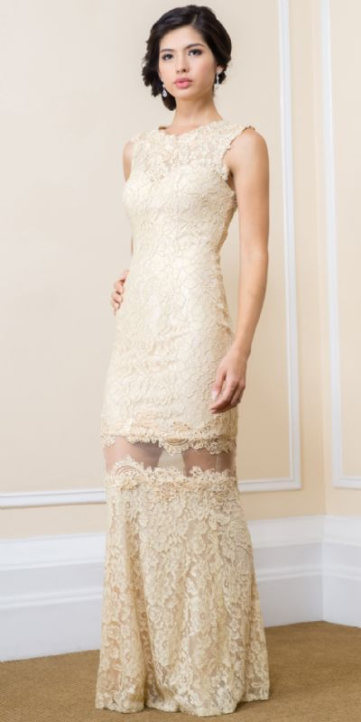 Stylish Floral Mesh Lace Accent Long Prom Pageant Dress